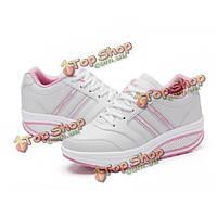 Женщин вскользь платформы кроссовки фитнес форма взлеты спортивные кружева до обувь