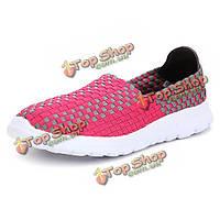 Новый растянуть вязание женщин случайные плоские спортивная обувь