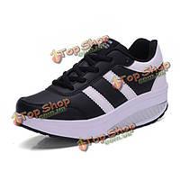 Женщин вскользь ботинки платформы скольжения на мягкое дно встр обувь повседневная обувь