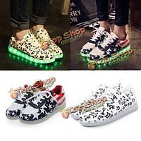USB унисекс LED Свет кружева вверх обувь спортивная кроссовок светящееся повседневная обувь