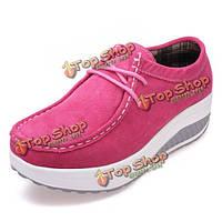 Женские повседневные замшевые ботинки потряс толстым дном обувь кроссовки