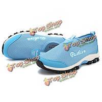 Женщины дышащая сетка спортивная обувь скольжения на легких спортивной обуви