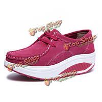 Женщин повседневная обувь спортивная обувь встряхнул круглый носок кружева вверх обувь мягкой подошве обуви