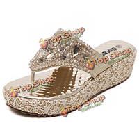 Женские летние пляжные открытый алмазов вскользь клин сандалии удобные тапочки обувь