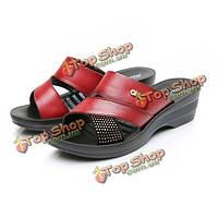 Мы размер 5-10 женщин летние клин сандалии на открытом воздухе мягкие тапочки обувь удобные кожаные