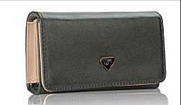 Стильный кошелек-чехол для телефона серый.
