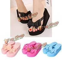 Платформы женщин среднего пятки флип-флоп сандалии пляжные тапочки бантом