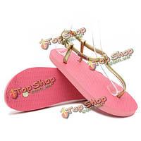 Женские летние дамы стринги T-ремень плоские сандалии дышащий пляж флип-флоп