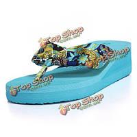 Богемия цветочные высокой платформе вьетнамки тапочки пляжная обувь