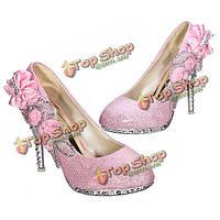 Блеск цветок насос свадьба кристалл высокие каблуки женской обуви