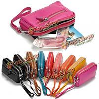 Женщины мужчины натуральная кожа держатель двойной молнии бумажник клатчи карты телефона, мешки для монет сумки