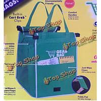 1шт большой емкости сумки складная супермаркета зеленый ЭКО-дружественных хозяйственные сумки многоразовые сумки