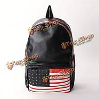 Мода опрятный американский флаг заклепки сумка рюкзак PU кожаный рюкзак