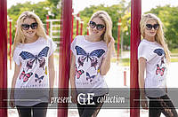 Женская футболка с бабочками-хулиганка