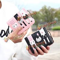 Женщины 3 милые кошки сумки держатель печать короткий бумажник животное кошелек карты монета