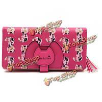 Женщины мультфильм кошка кисточкой длинные бумажник девочек милый кошелек держатель карты животное мешки для монет