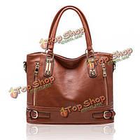 Ретро сумка коричневая из искусственной кожи женская