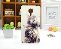 Крутой чехол бампер из силикона для Meizu MX4 Pro с картинкой два котика