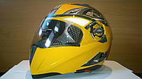 Мото Шлем трансформер BLD Желтый со светофильтром