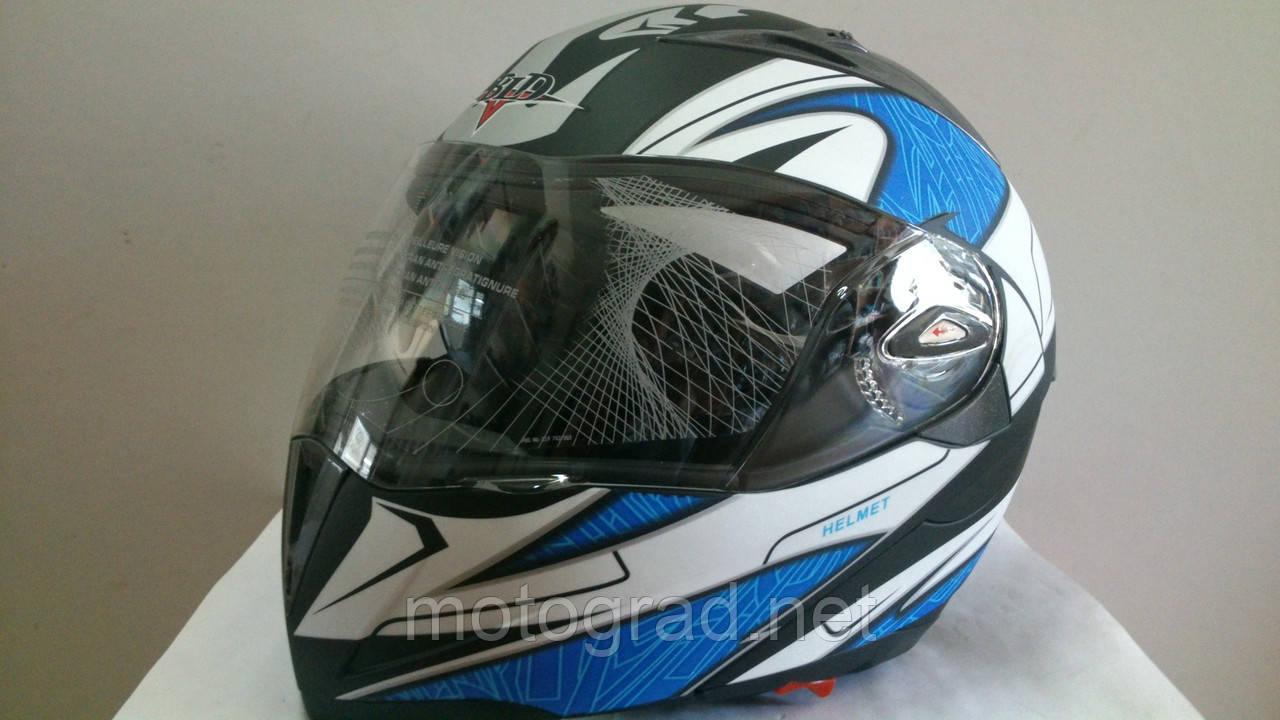 Шлем BLD трансформер Бело-Синий со светофильтром