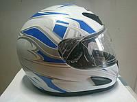 Шлем Musstang интеграл белый с синим