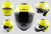 Мото Шлем с очками и отстегивающейся бородой желтый LS-2 OF578