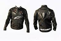 Мото куртка ALPINESTARS кожзам-текстиль с аэродинамическим горбом черная