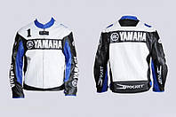 Мото куртка кожзам YAMAHA №1 черно-белая