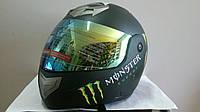 Шлем BLD Monster трансформер с затемненным визором черный матовый