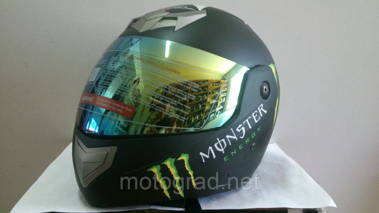 Шлем BLD Monster Energy трансформер с затемненным визором черный матовый