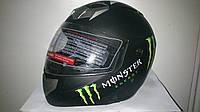 Шлем BLD Monster трансформер с прозрачным визором черный матовый