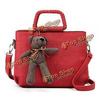 Ретро женщины искусственная кожа плед медведь сумки дамы сумки плеча elgant Crossbody сумки