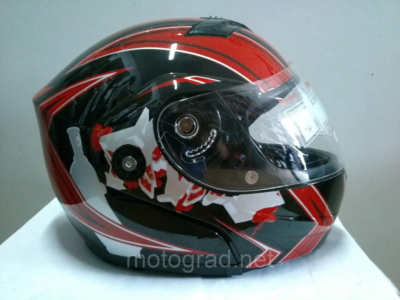 Шлем трансформер YORK черно-красный