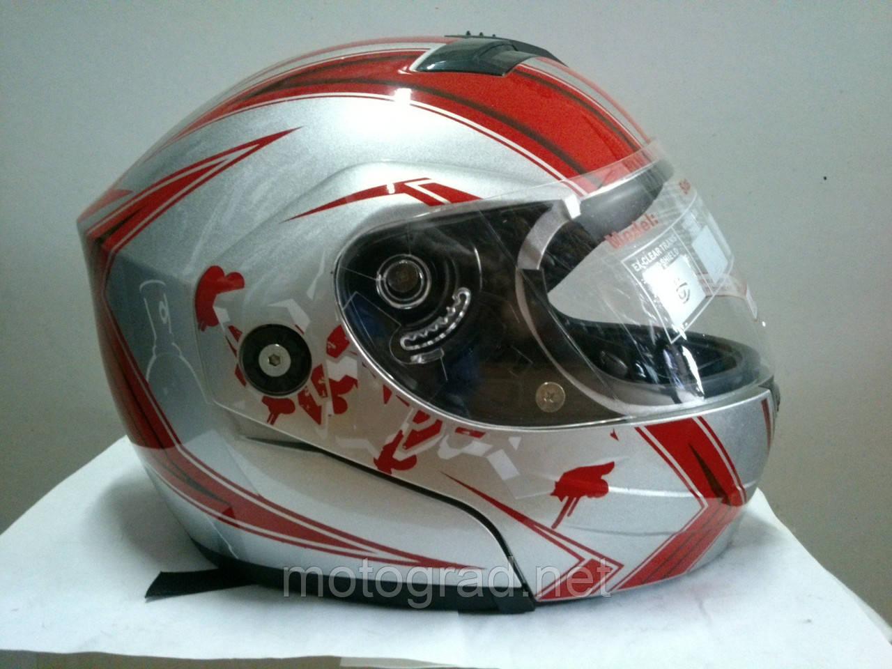 Шлем трансформер YORK серебристо-красный