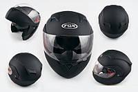 Шлем FGN трансформер 688 с двойным визором черный матовый
