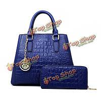 Женщины элегантный крокодил сумки дамы Crossbody сумки клатчи держатель карты кошелек 2pcs