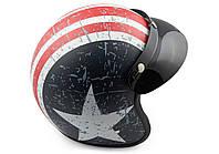 Шлем полулицевик ретро STAR с козырьком черный