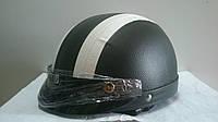 Кожаный Шлем-каска с очками белые полосы