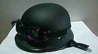 Шлем-каска с очками черная матовая