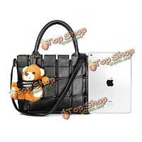 Женщины плед милые медведь сумки дамы винтажные сумки плеча Crossbody сумки