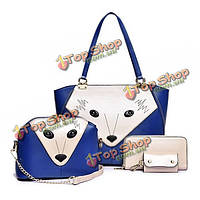 Женщины мешки плеча лисицы сумки животных Кроссбоди бумажник мешка ключевой мешок 4 шт