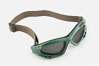 Очки мото KOESTLER на резинке с перфорационным стеклом зеленые