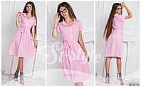 Летнее женское платье шифоновое с поясом