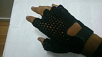 Мото перчатки без пальцев кожаные сверху сетка