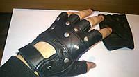 Мото перчатки кожаные без пальцев с заклепками