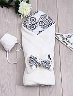 """Модный велюровый конверт с шапочкой  для новорожденных """"Винтаж"""" (айвори), фото 1"""