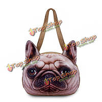 Женщины милые собаки головки плеча мешки казуальных 3d животных печати сумки