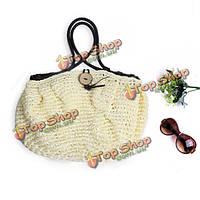 Женщины плетение соломки сумочка с кисточкой сумки на плечо большой емкости пляжные сумки
