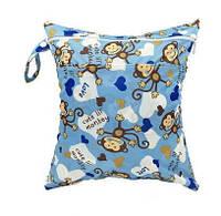 Удобные сумочки для сухих и мокрых вещей c двумя отделениями обезьянки в голубом