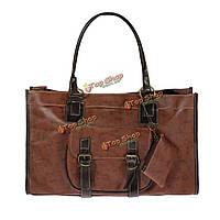 Большая емкость PU кожаный сумочка shoulderbag сумка Браун